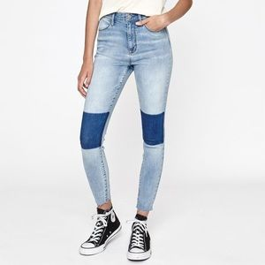 PacSun Super High Rise Ankle Jeggings w Knee Patch